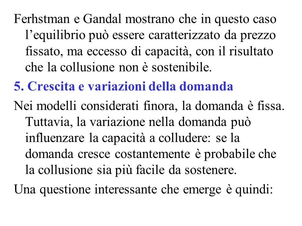 Ferhstman e Gandal mostrano che in questo caso l'equilibrio può essere caratterizzato da prezzo fissato, ma eccesso di capacità, con il risultato che la collusione non è sostenibile.