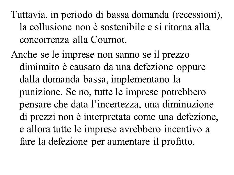 Tuttavia, in periodo di bassa domanda (recessioni), la collusione non è sostenibile e si ritorna alla concorrenza alla Cournot.