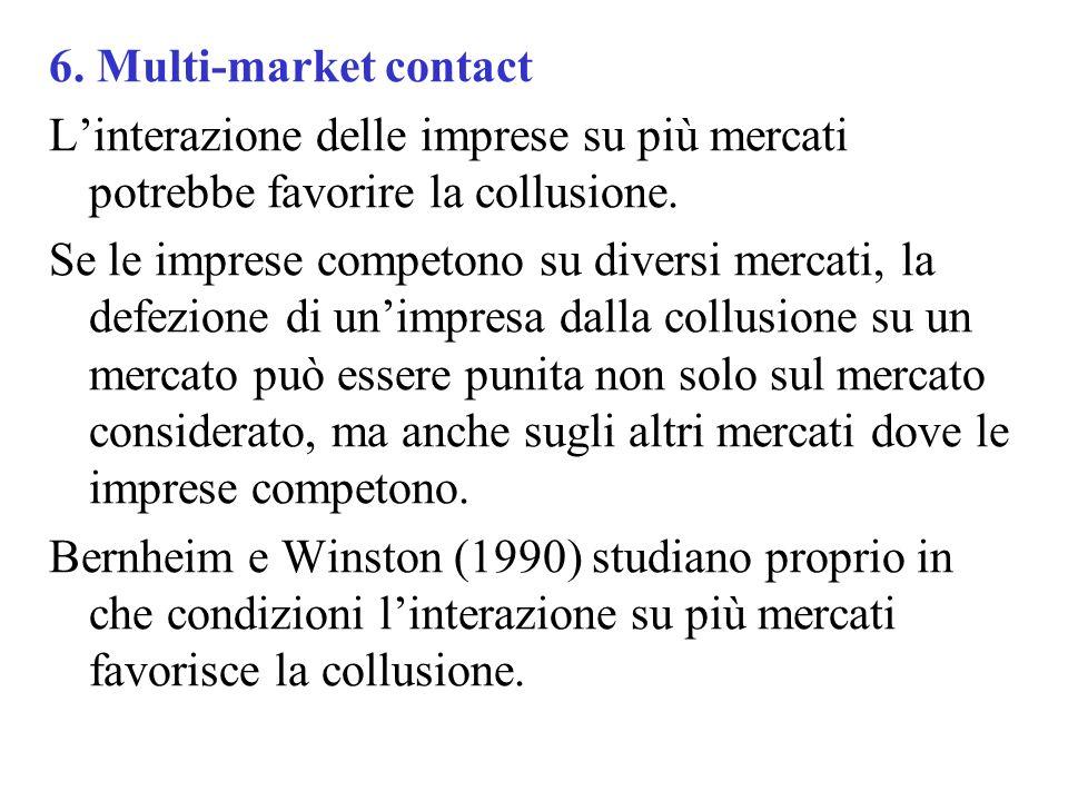 6. Multi-market contact L'interazione delle imprese su più mercati potrebbe favorire la collusione.
