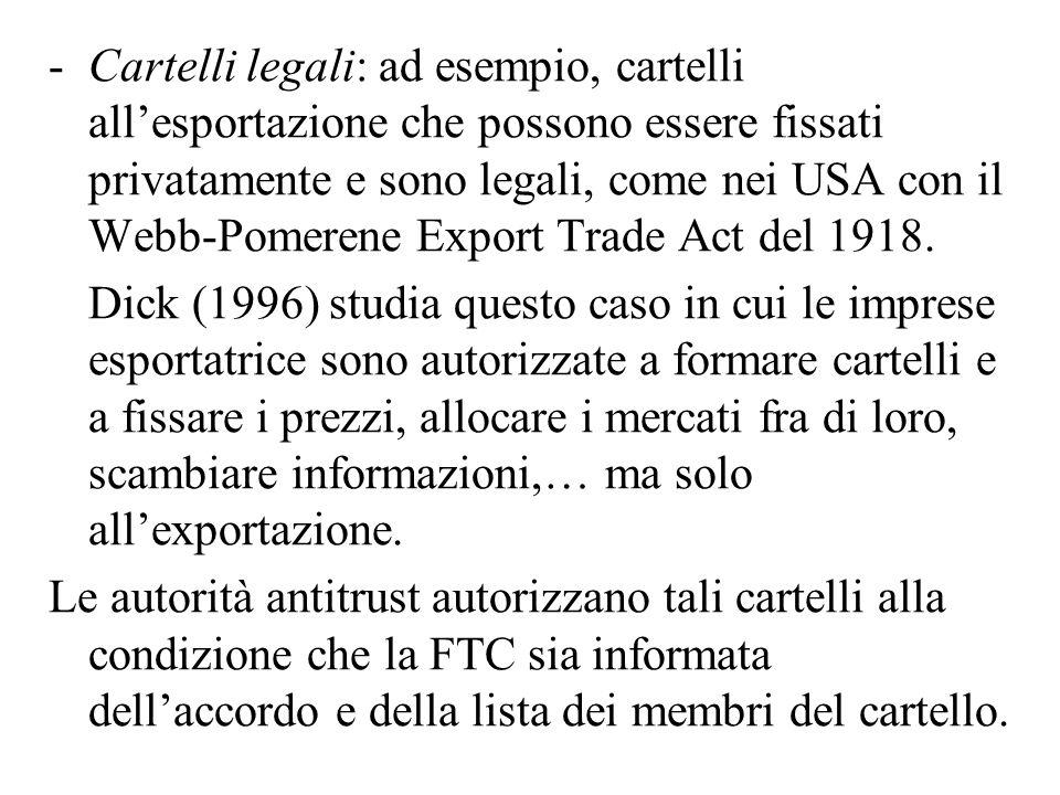 Cartelli legali: ad esempio, cartelli all'esportazione che possono essere fissati privatamente e sono legali, come nei USA con il Webb-Pomerene Export Trade Act del 1918.