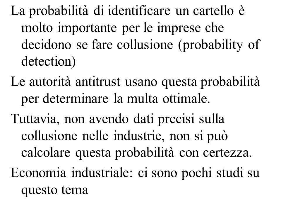 La probabilità di identificare un cartello è molto importante per le imprese che decidono se fare collusione (probability of detection)