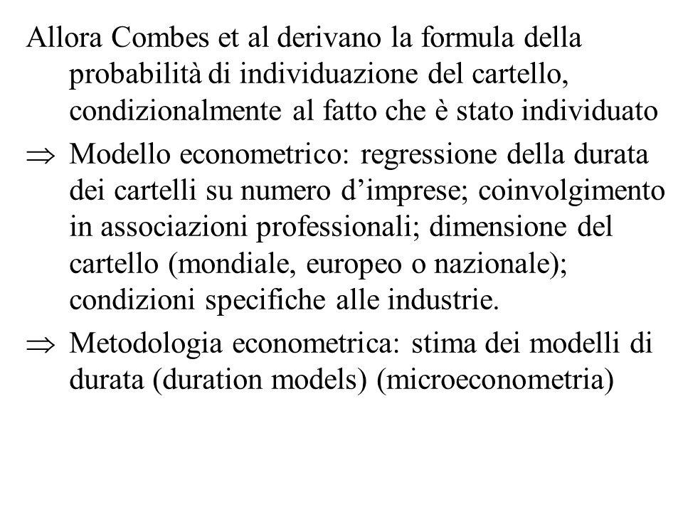 Allora Combes et al derivano la formula della probabilità di individuazione del cartello, condizionalmente al fatto che è stato individuato