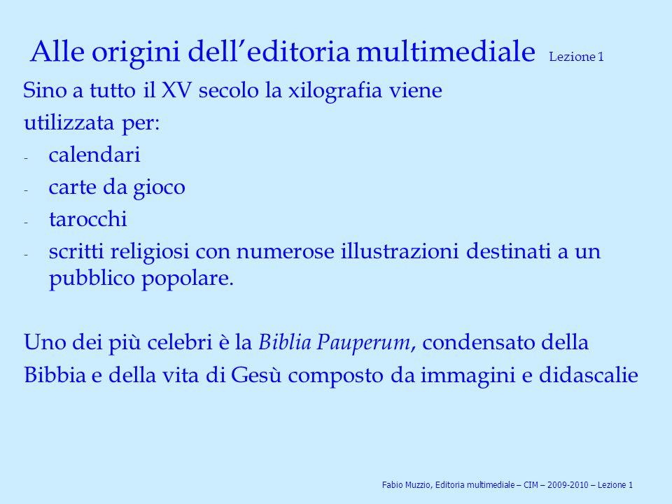 Alle origini dell'editoria multimediale Lezione 1