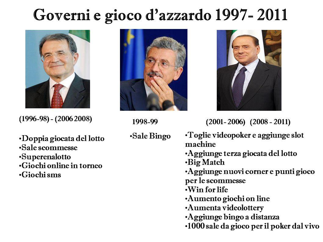 Governi e gioco d azzardo 1997- 2011