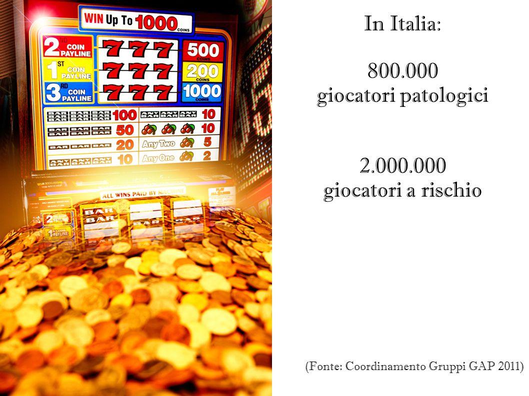 IL FENOMENO IN CIFRE In Italia: 800.000 giocatori patologici 2.000.000
