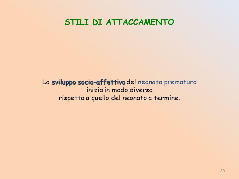 STILI DI ATTACCAMENTO Lo sviluppo socio-affettivo del neonato prematuro.