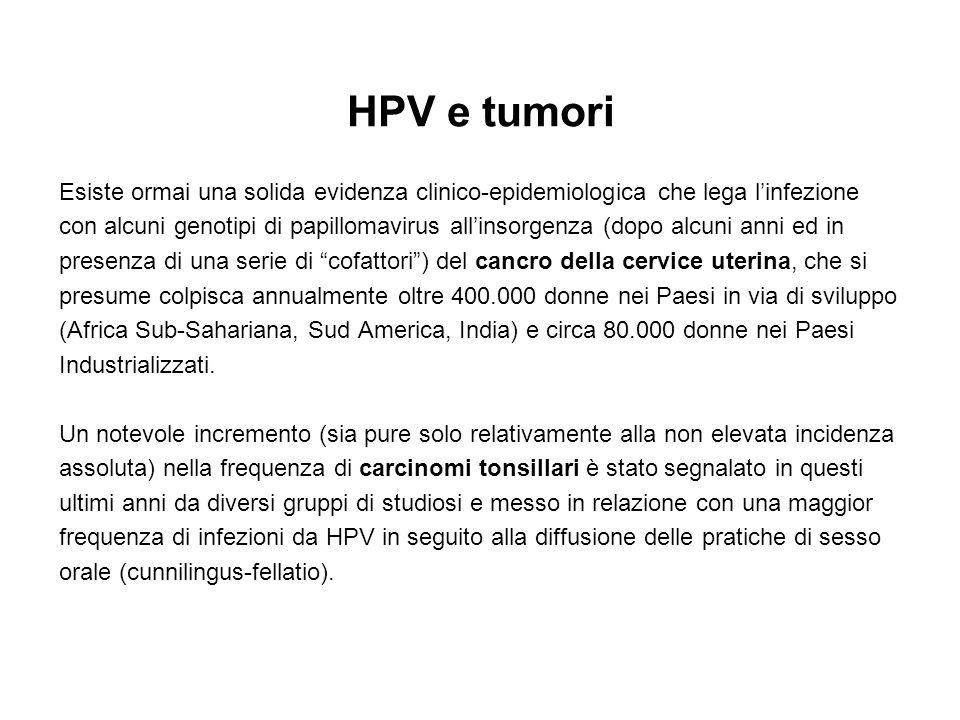 HPV e tumori Esiste ormai una solida evidenza clinico-epidemiologica che lega l'infezione.