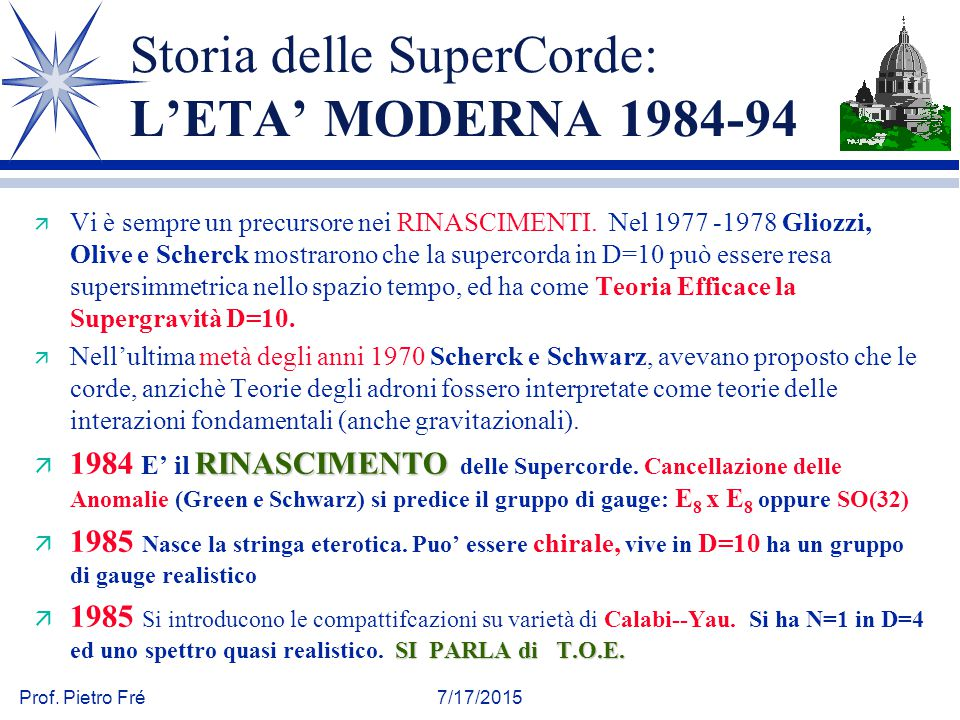Storia delle SuperCorde: L'ETA' MODERNA 1984-94