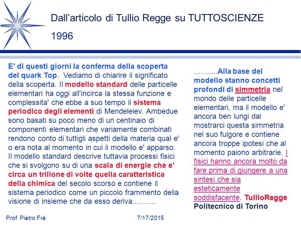 Dall'articolo di Tullio Regge su TUTTOSCIENZE 1996