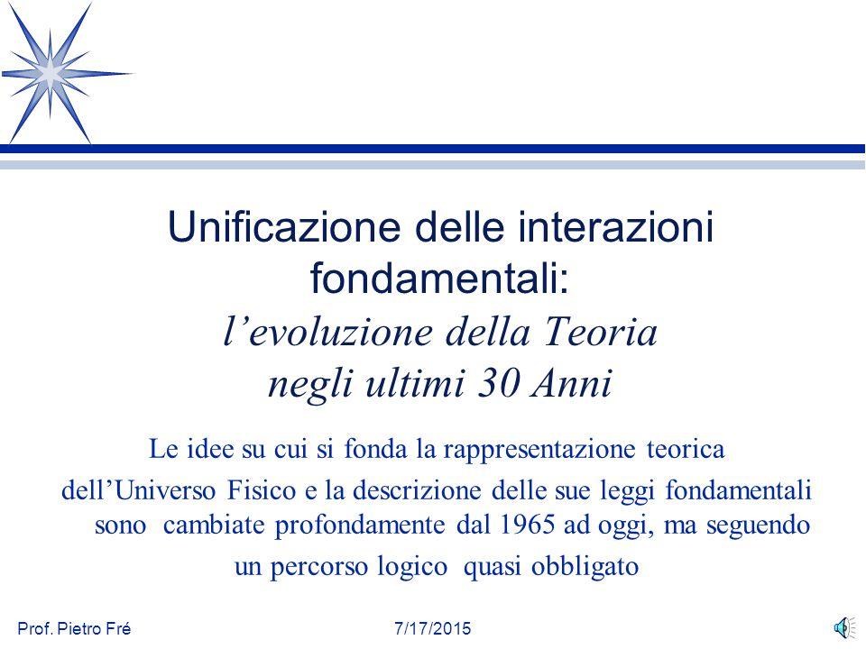 Unificazione delle interazioni fondamentali: l'evoluzione della Teoria negli ultimi 30 Anni