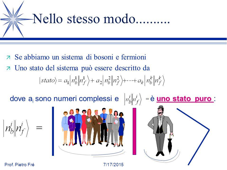 Nello stesso modo.......... Se abbiamo un sistema di bosoni e fermioni