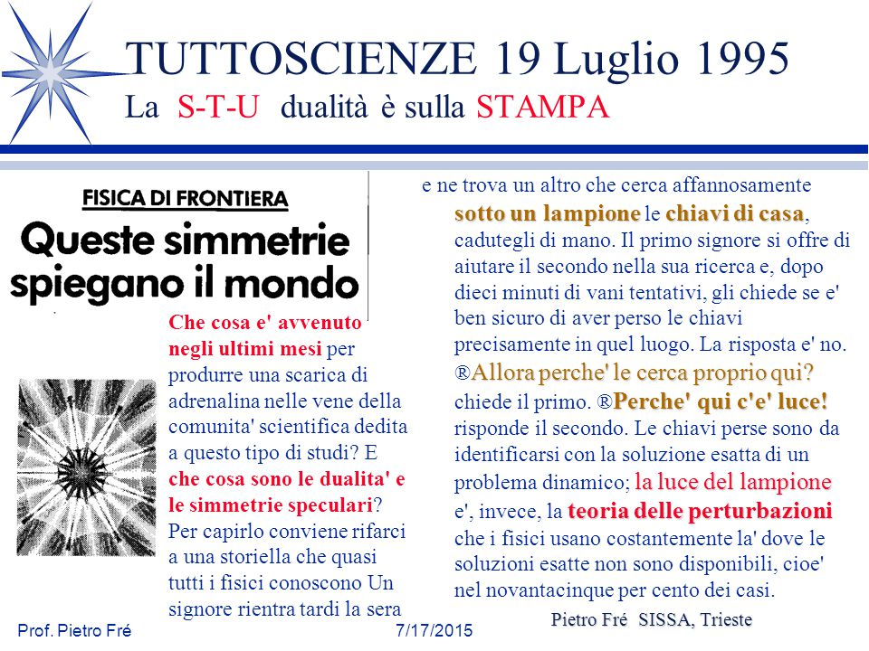 TUTTOSCIENZE 19 Luglio 1995 La S-T-U dualità è sulla STAMPA