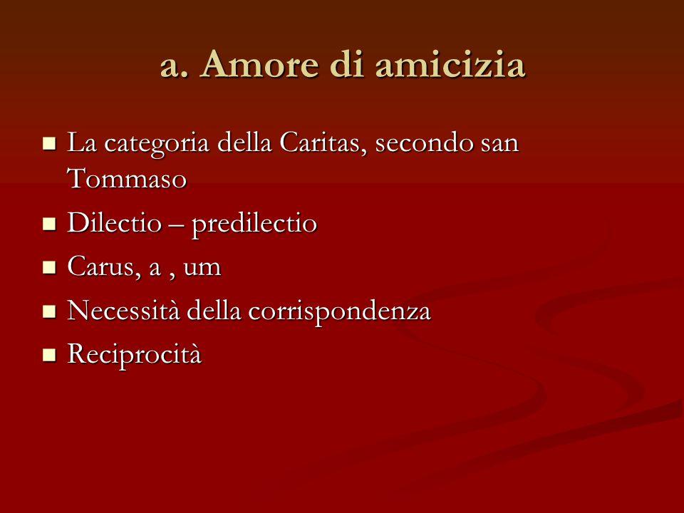a. Amore di amicizia La categoria della Caritas, secondo san Tommaso