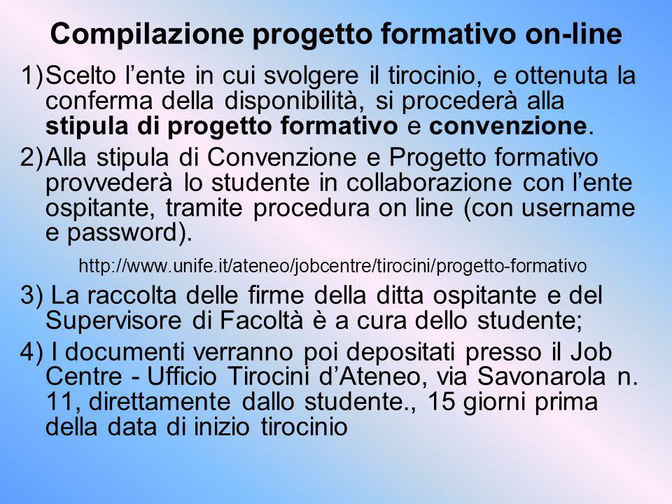 Compilazione progetto formativo on-line