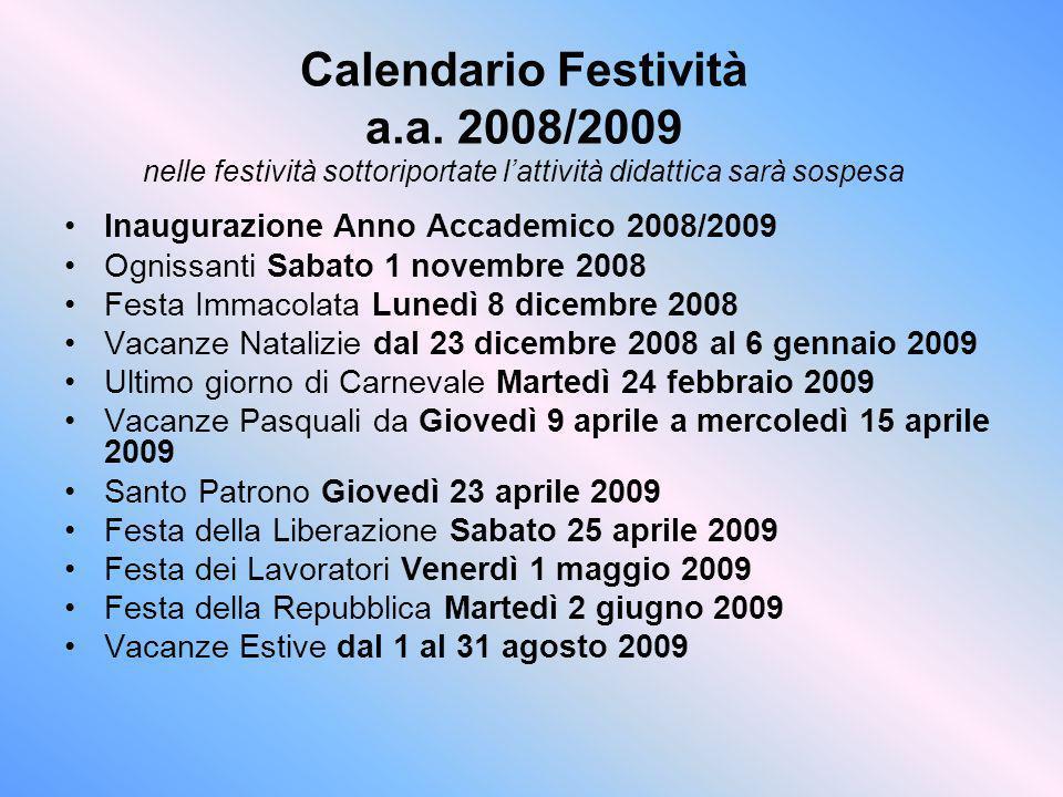 Calendario Festività a. a