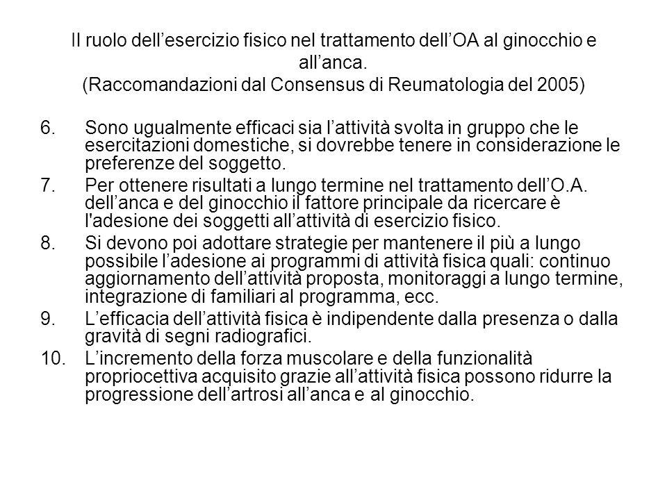 Il ruolo dell'esercizio fisico nel trattamento dell'OA al ginocchio e all'anca. (Raccomandazioni dal Consensus di Reumatologia del 2005)