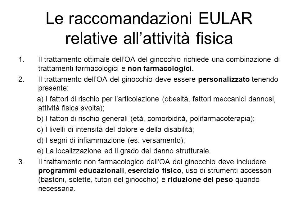 Le raccomandazioni EULAR relative all'attività fisica