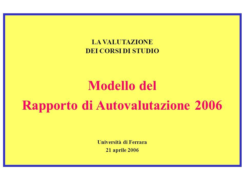 Rapporto di Autovalutazione 2006