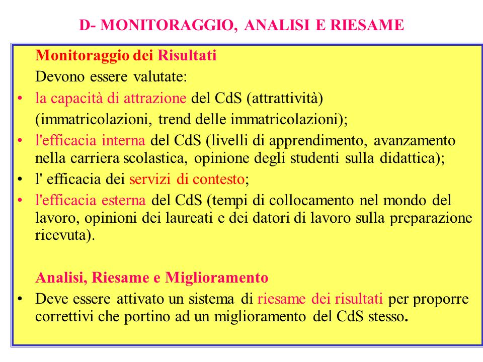 D- MONITORAGGIO, ANALISI E RIESAME