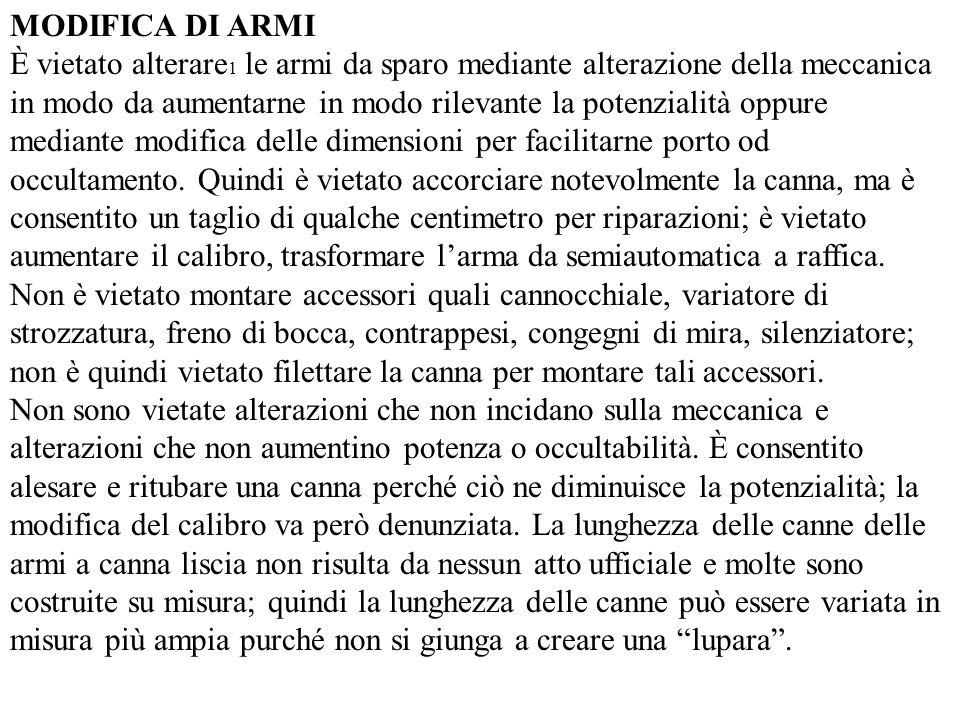 MODIFICA DI ARMI