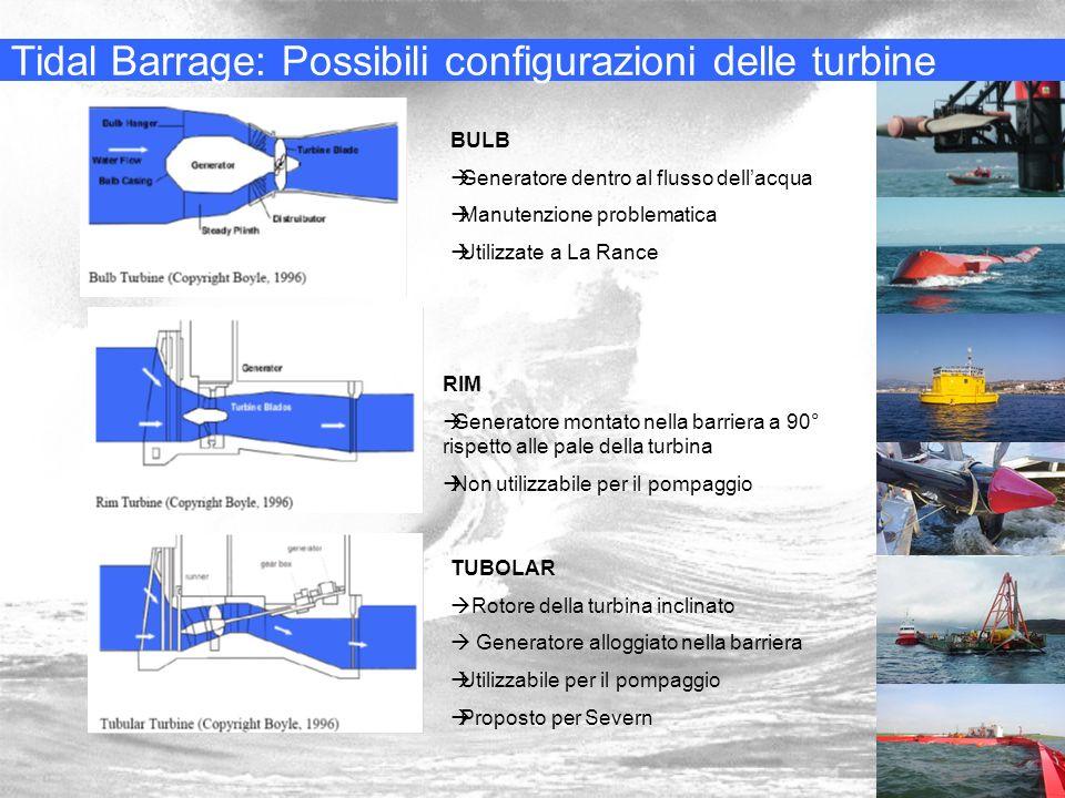 Tidal Barrage: Possibili configurazioni delle turbine