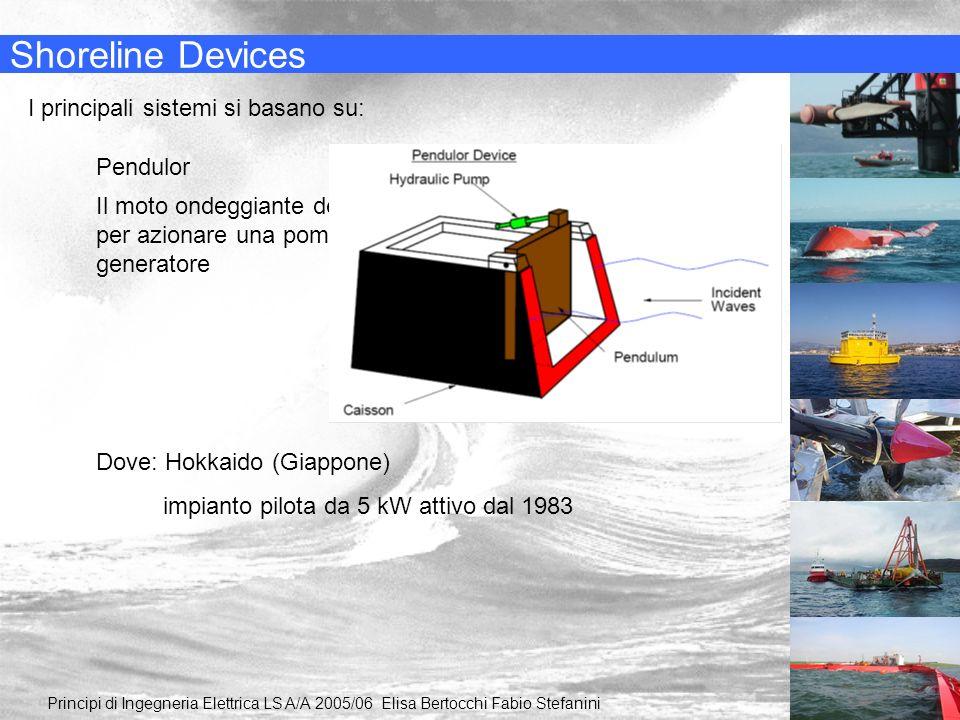 Shoreline Devices I principali sistemi si basano su: Pendulor