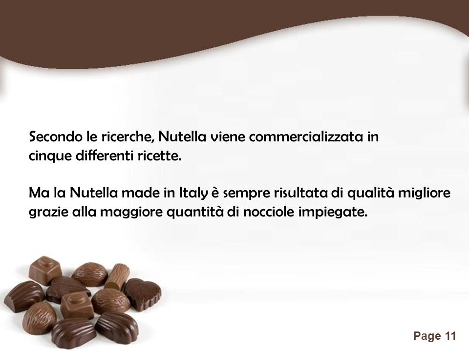 Secondo le ricerche, Nutella viene commercializzata in
