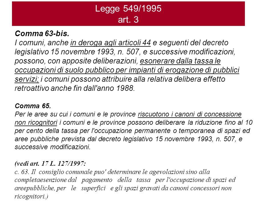 Legge 549/1995 art. 3 Comma 63-bis.