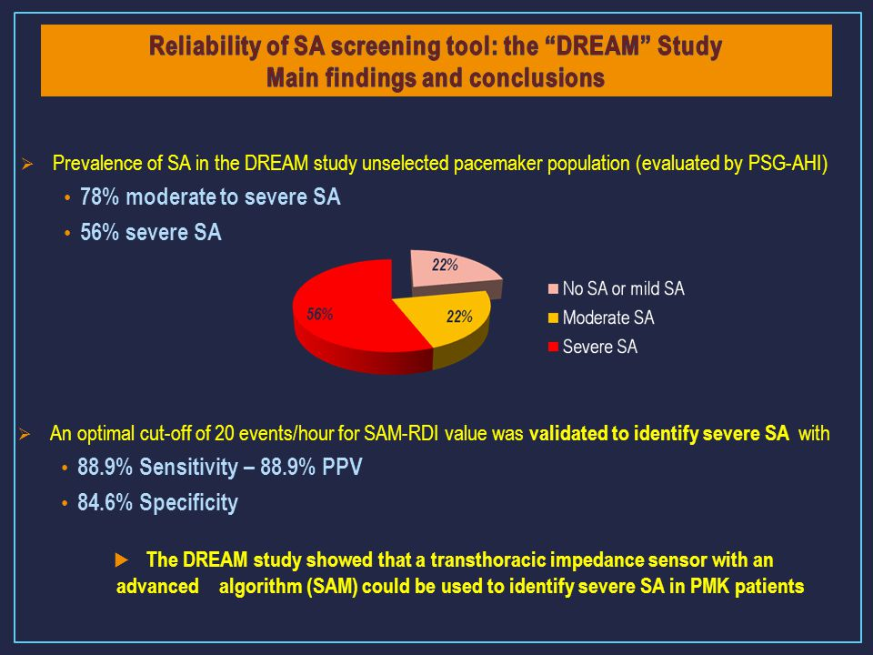Reliability of SA screening tool: the DREAM Study Main findings and conclusions