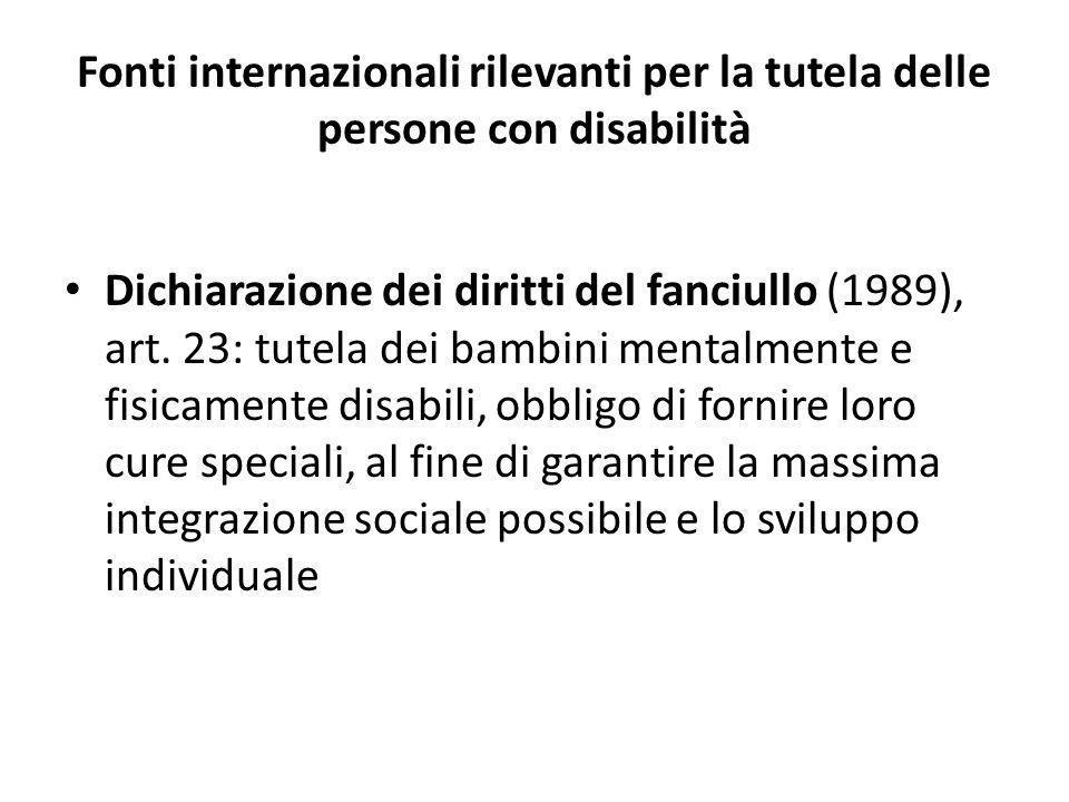 Fonti internazionali rilevanti per la tutela delle persone con disabilità