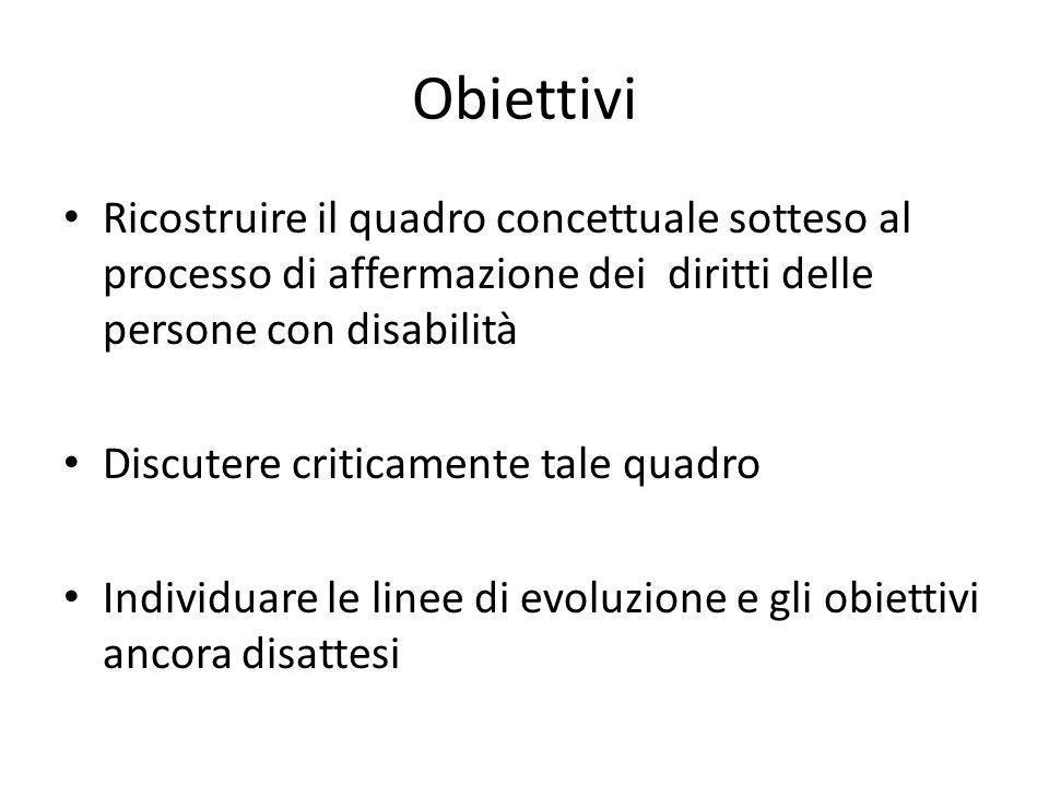 ObiettiviRicostruire il quadro concettuale sotteso al processo di affermazione dei diritti delle persone con disabilità.
