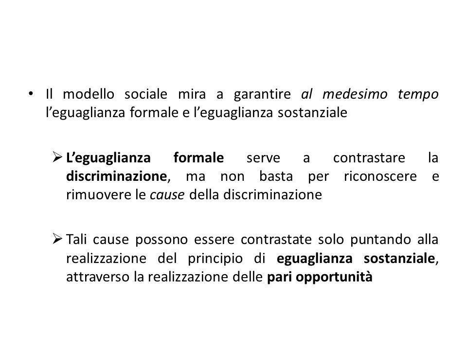 Il modello sociale mira a garantire al medesimo tempo l'eguaglianza formale e l'eguaglianza sostanziale