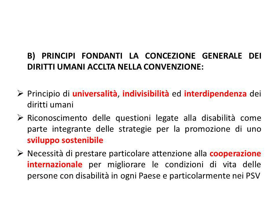 B) PRINCIPI FONDANTI LA CONCEZIONE GENERALE DEI DIRITTI UMANI ACCLTA NELLA CONVENZIONE: