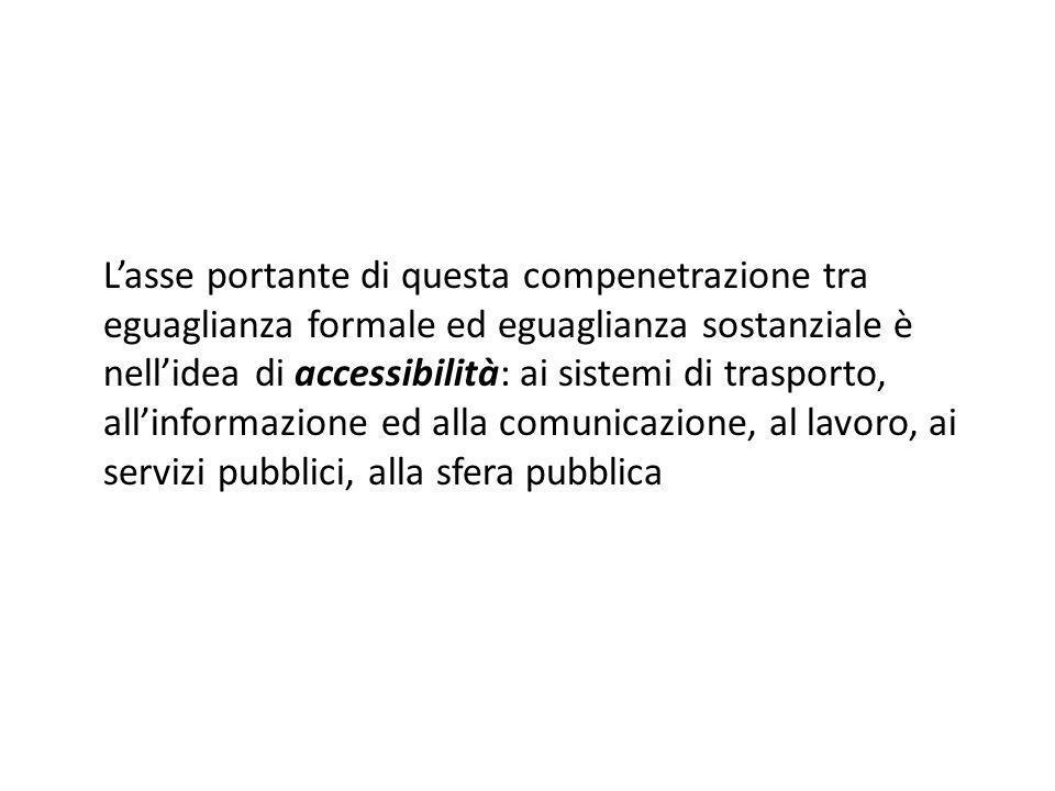 L'asse portante di questa compenetrazione tra eguaglianza formale ed eguaglianza sostanziale è nell'idea di accessibilità: ai sistemi di trasporto, all'informazione ed alla comunicazione, al lavoro, ai servizi pubblici, alla sfera pubblica