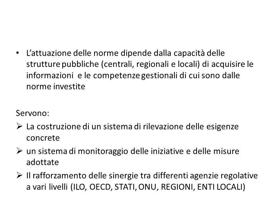 L'attuazione delle norme dipende dalla capacità delle strutture pubbliche (centrali, regionali e locali) di acquisire le informazioni e le competenze gestionali di cui sono dalle norme investite