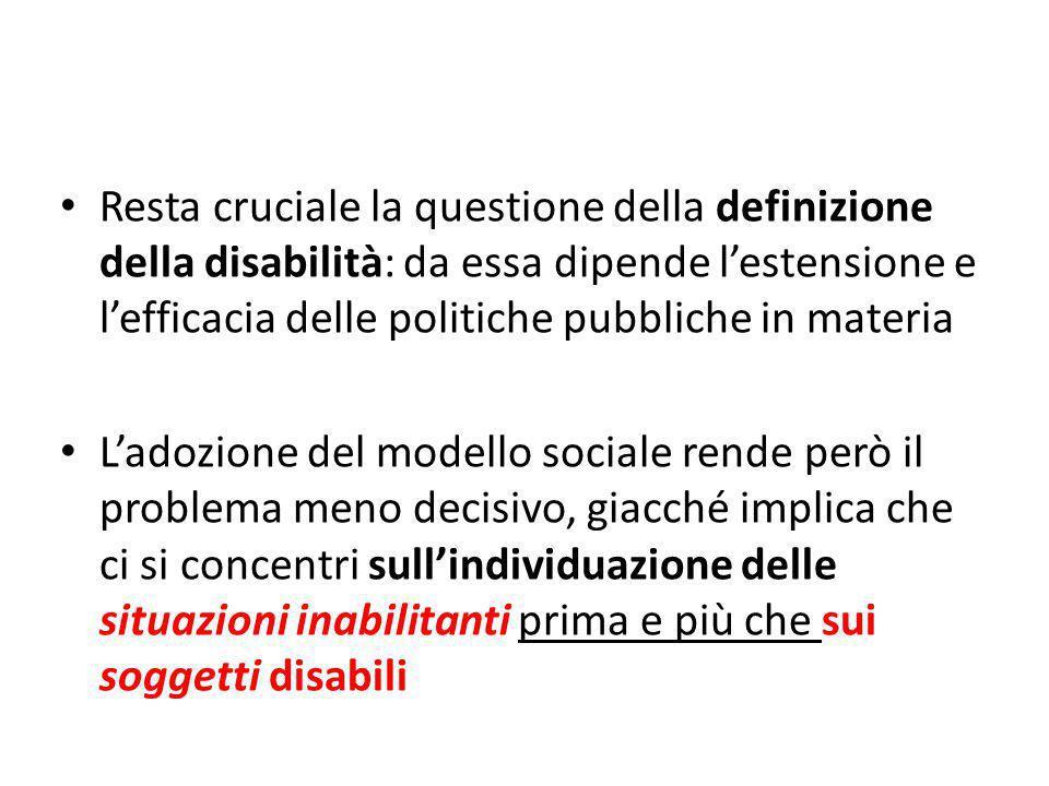 Resta cruciale la questione della definizione della disabilità: da essa dipende l'estensione e l'efficacia delle politiche pubbliche in materia