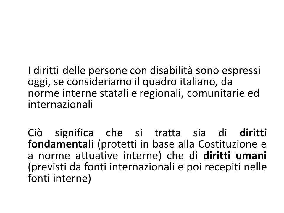 I diritti delle persone con disabilità sono espressi oggi, se consideriamo il quadro italiano, da norme interne statali e regionali, comunitarie ed internazionali
