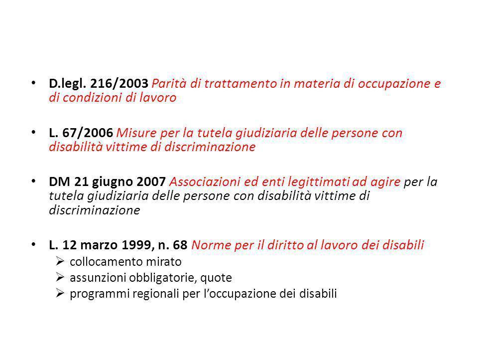 L. 12 marzo 1999, n. 68 Norme per il diritto al lavoro dei disabili
