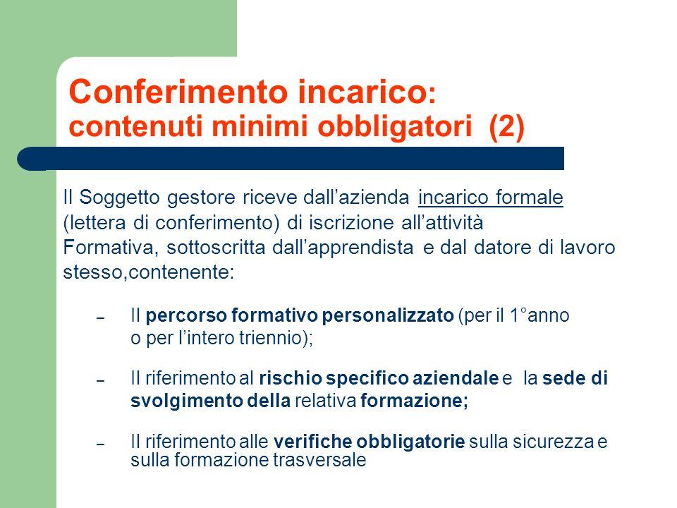 Conferimento incarico: contenuti minimi obbligatori (2)