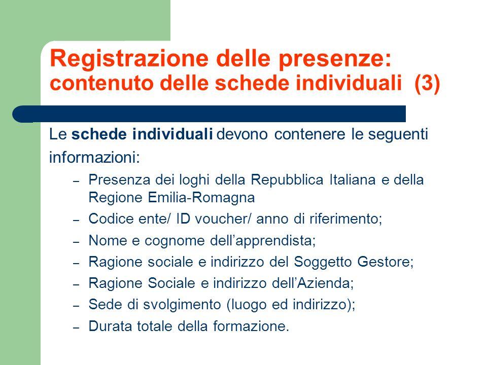 Registrazione delle presenze: contenuto delle schede individuali (3)