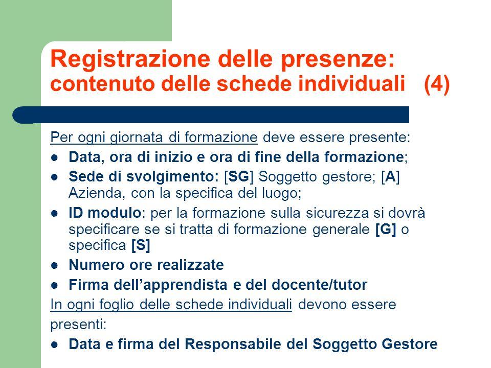 Registrazione delle presenze: contenuto delle schede individuali (4)