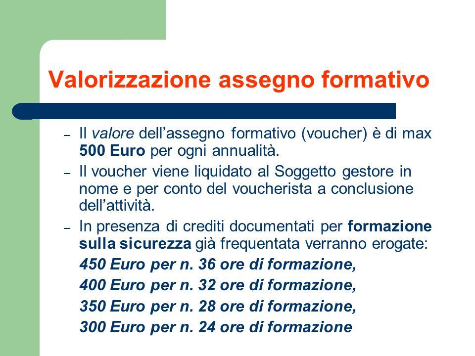 Valorizzazione assegno formativo