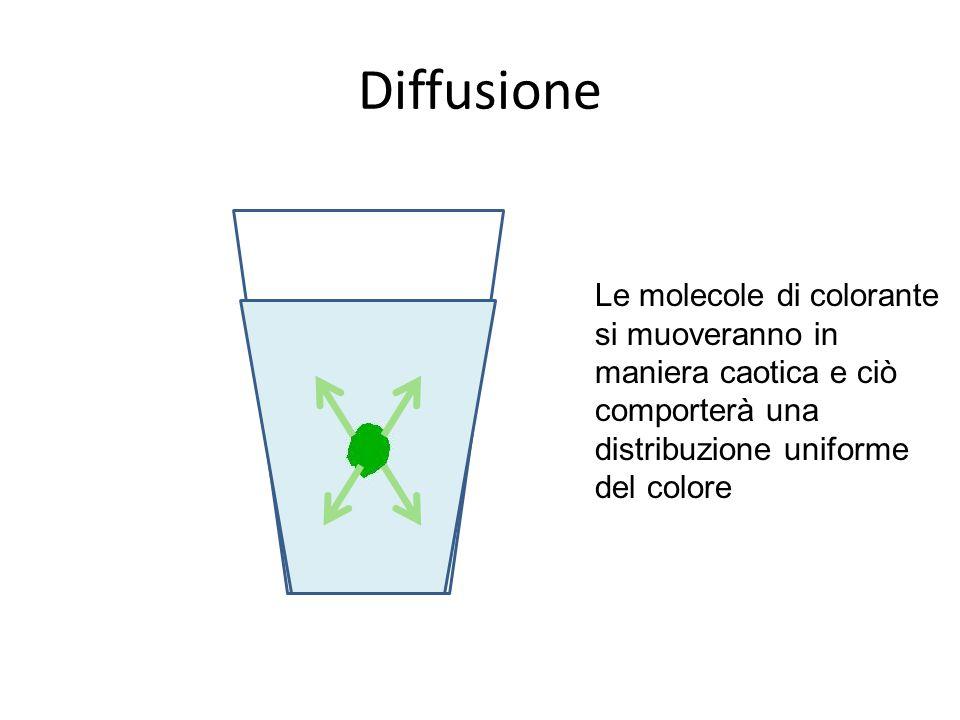 Diffusione Le molecole di colorante si muoveranno in maniera caotica e ciò comporterà una distribuzione uniforme del colore.