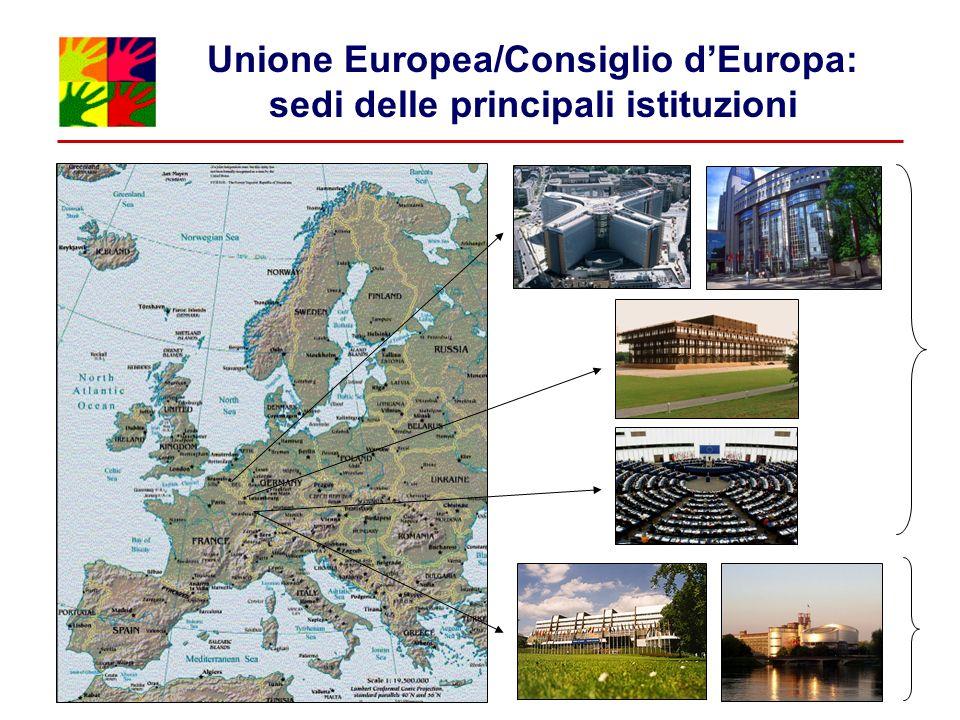 Unione Europea/Consiglio d'Europa: sedi delle principali istituzioni