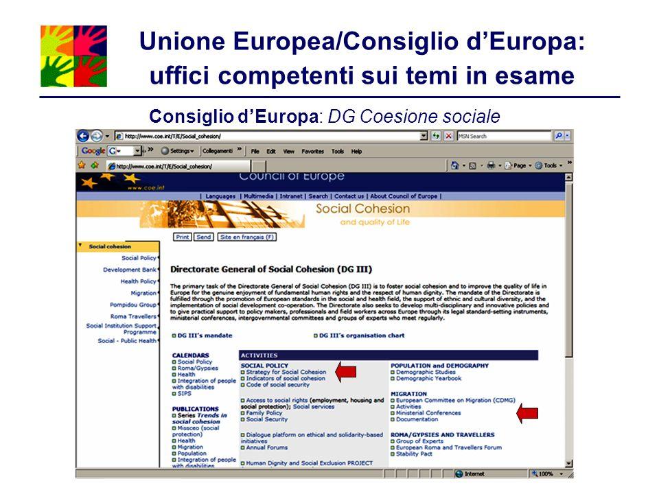 Unione Europea/Consiglio d'Europa: uffici competenti sui temi in esame