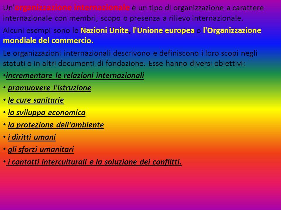 Un organizzazione internazionale è un tipo di organizzazione a carattere internazionale con membri, scopo o presenza a rilievo internazionale.