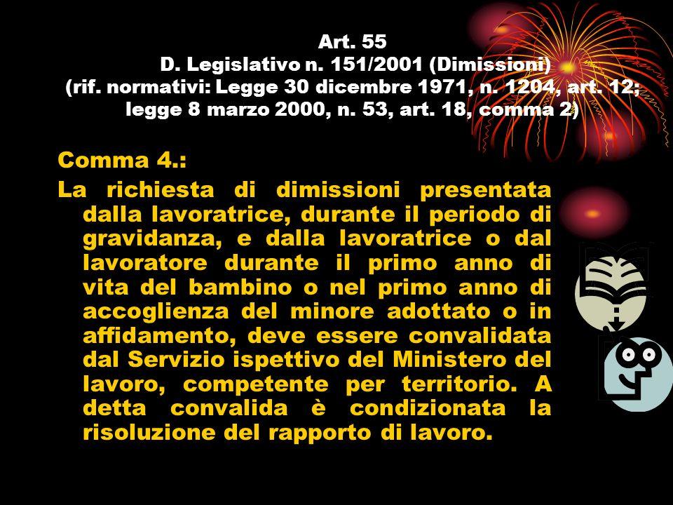 Art. 55 D. Legislativo n. 151/2001 (Dimissioni) (rif