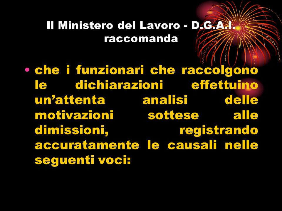 Il Ministero del Lavoro - D.G.A.I. raccomanda
