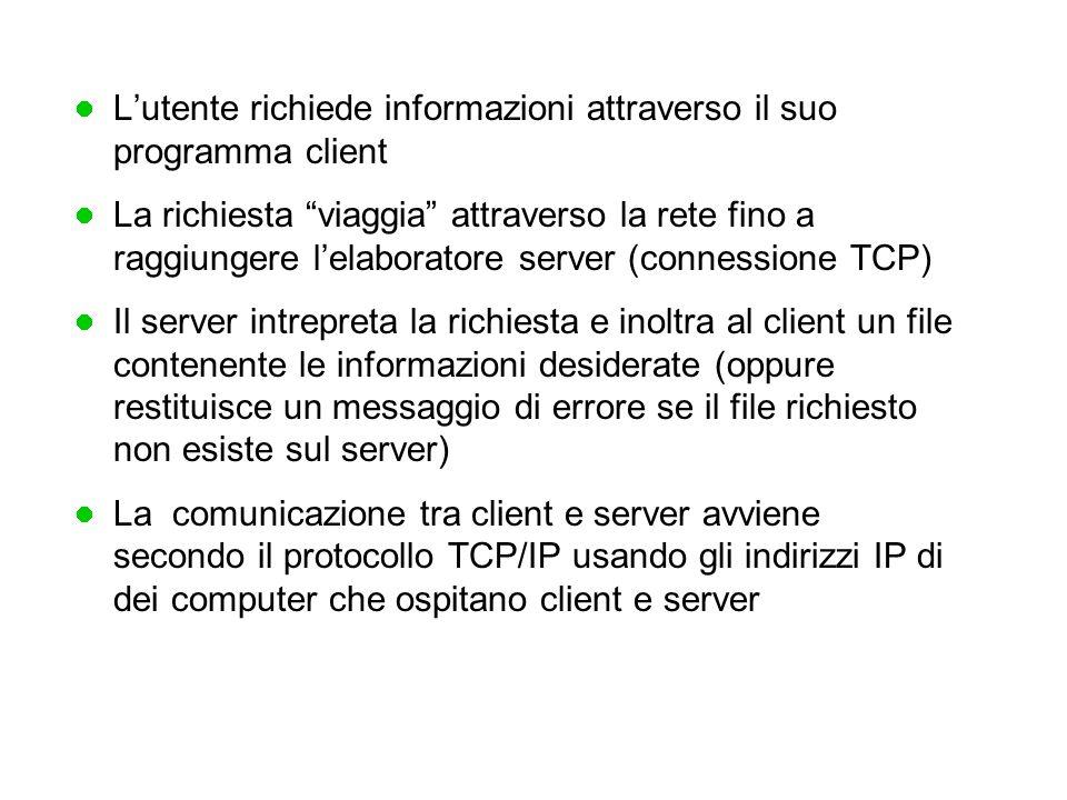 L'utente richiede informazioni attraverso il suo programma client