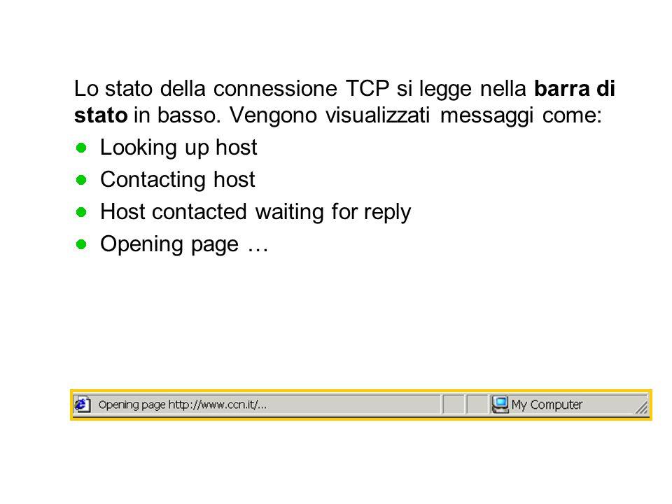 Lo stato della connessione TCP si legge nella barra di stato in basso